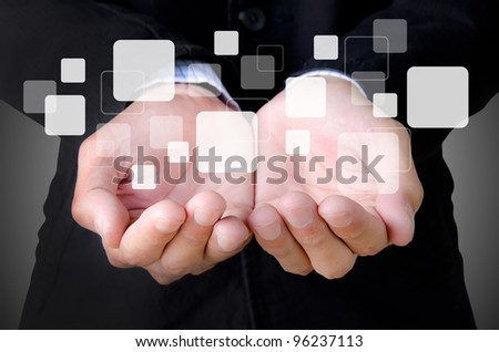 businessman hand holding a buttons