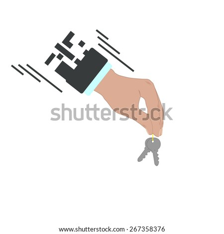 Businessman hand holding and giving keys. Web real estate template. illustration icon  - stock photo