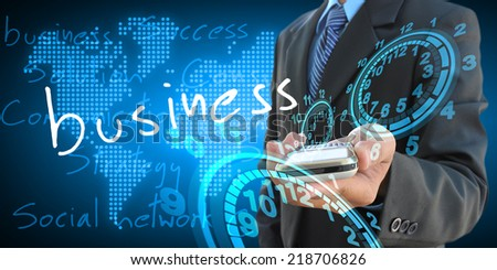 businessman hand holding business - stock photo