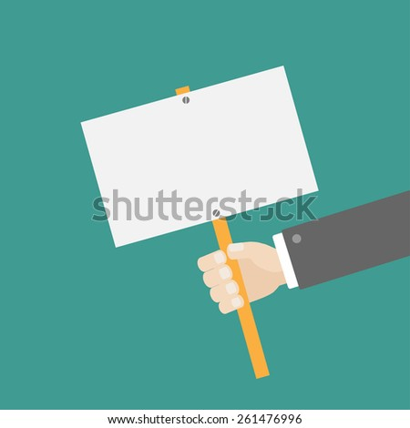 Businessman hand holding empty paper blank sign plate Flat design