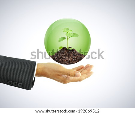 Businessman hand holding green sapling with soil in the globe - stock photo