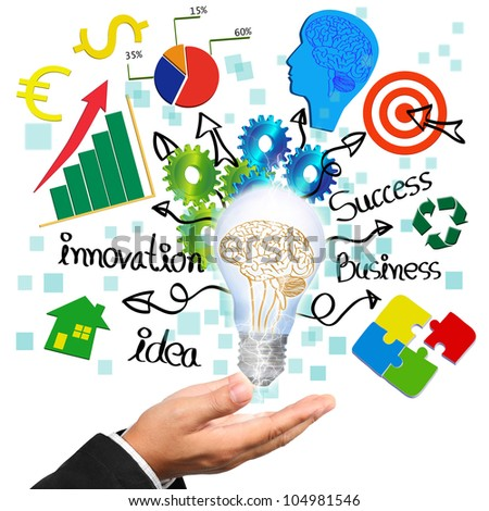 Businessman hand holding light bulb with brain illustration inside and business symbols  idea concept. - stock photo