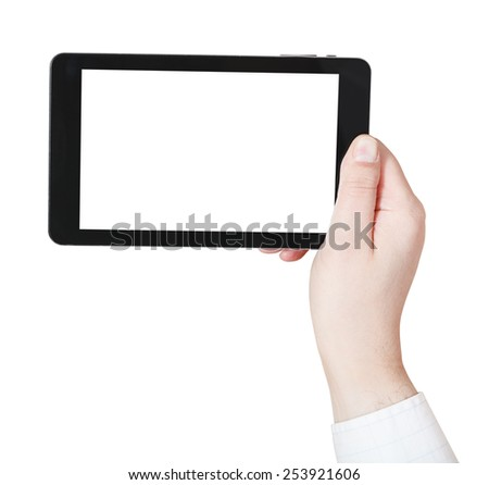 businessman hand holding tablet-pc with cutout screen isolated on white background - stock photo