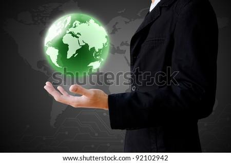 businessman hand holding the earth globe - stock photo