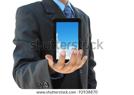 businessman hand holding touch pad PC on white background - stock photo