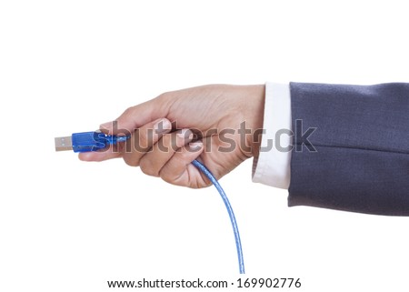 Businessman hand holding USB cable isolated on white background. with using path