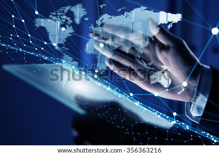 Businessman hand holding virtual panel representing net connection - stock photo