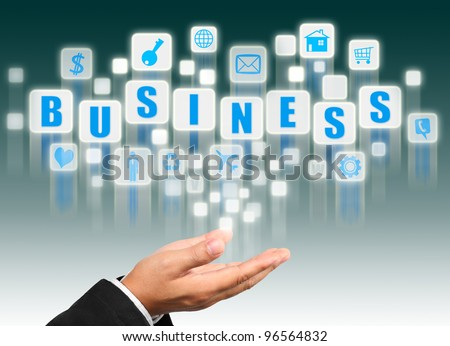 Businessman hand holding with business alphabet streaming images