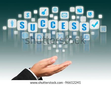 Businessman hand holding with success alphabet streaming images
