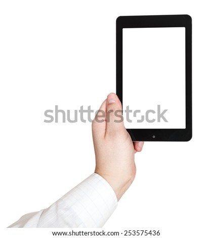 businessman hand holds touchpad with cutout screen isolated on white background - stock photo