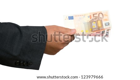 Businessman hand holing fifty euro banknote