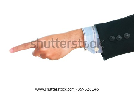 Businessman hand point something on white background. - stock photo