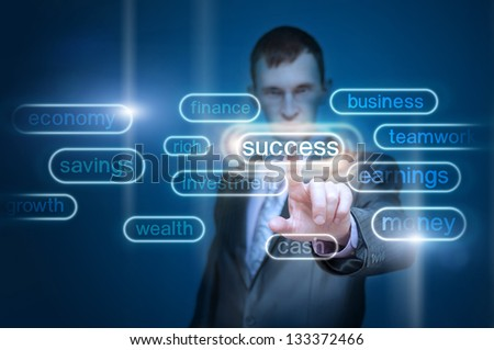 businessman hand pointing to goal, investment, succes, finance, money as concept - stock photo