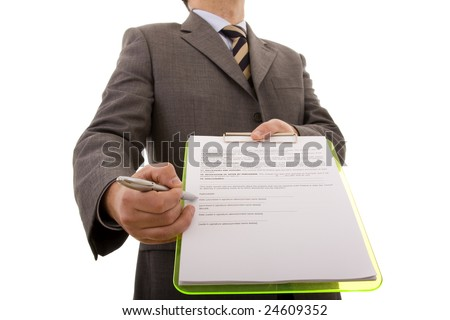 businessman hand pointing to the place in a document that need's your signature (selective focus) - stock photo