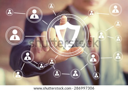 Businessman hand press telephone web button icon - stock photo