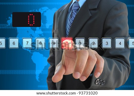 businessman hand pressing 0 - stock photo