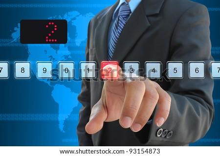 businessman hand pressing 2 floor in elevator - stock photo