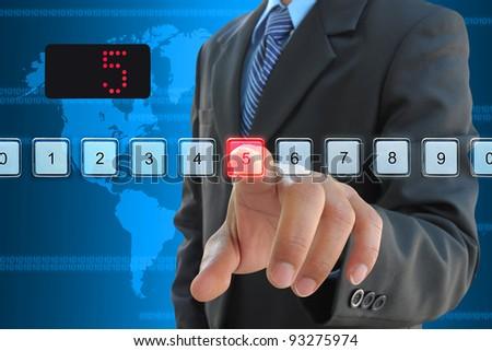 businessman hand pressing 5 floor in elevator - stock photo