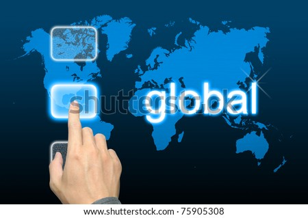 businessman hand pressing global button on a touch screen interface - stock photo