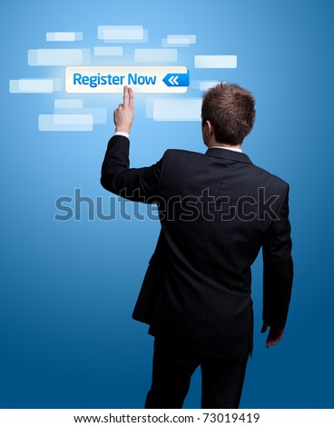 Businessman hand pressing register now button. - stock photo