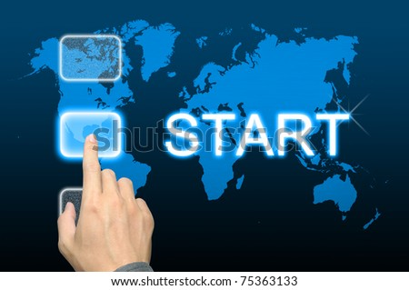 businessman hand pressing start button on a touch screen interface - stock photo