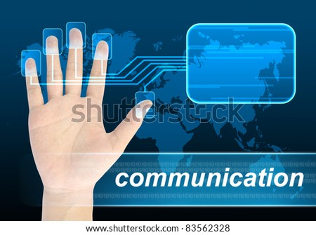 businessman hand pushing communication button on a touch screen interface - stock photo