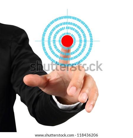 Businessman hand pushing goal symbol isolated on white background - stock photo