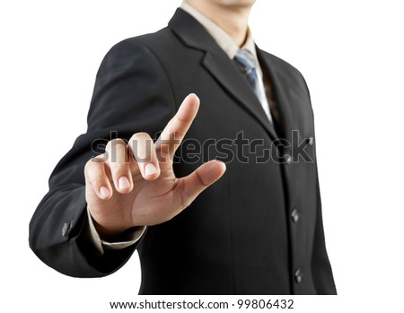 businessman hand pushing screen on white background - stock photo