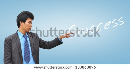 businessman hand pushing success - stock photo