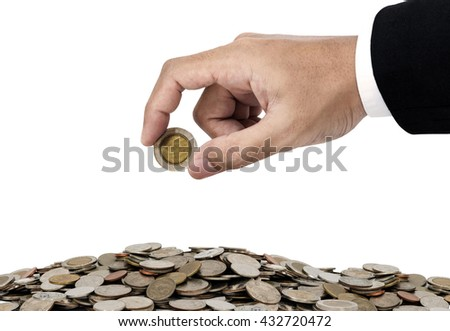 Businessman hand putting money coins, saving money concept, isolated on white background - stock photo