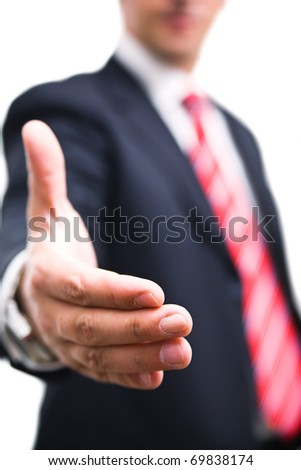 Businessman hand reached to seal the agreement - stock photo