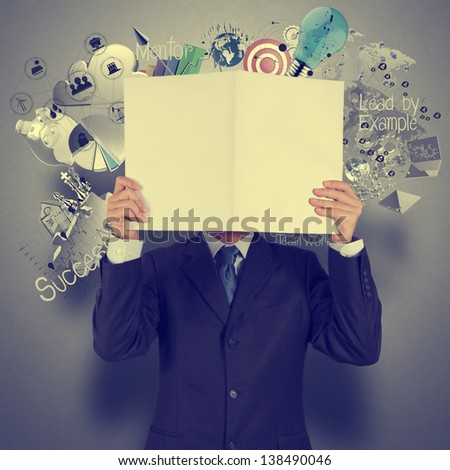 businessman hand show book of success business as vintage style concept - stock photo