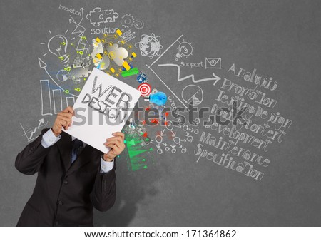 businessman hand show book of web design and diagram icons on texture background as concept - stock photo