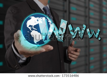 businessman hand show world and handdrawn WWW. as internet concept - stock photo