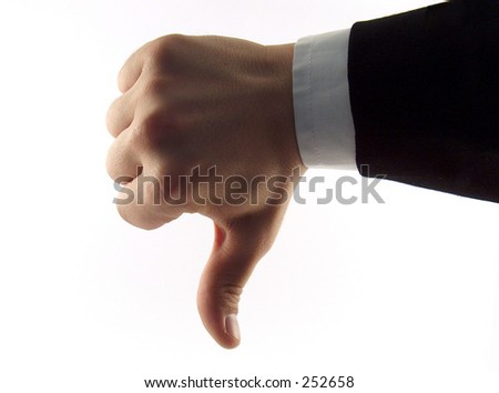 businessman hand showing a descending tendence - stock photo