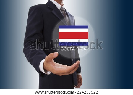 Businessman hand showing Costa Rica Flag