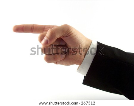 businessman hand showing direction - stock photo