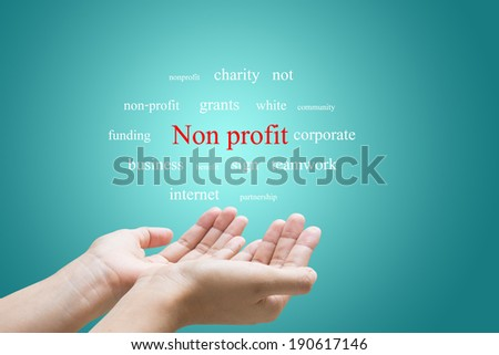 Businessman Hand Showing Non profit Word - stock photo