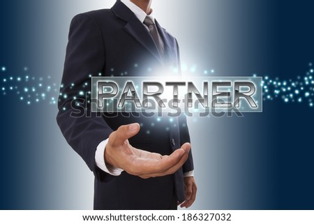 Businessman hand showing partner button on virtual screen.  - stock photo