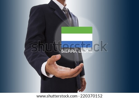 Businessman hand showing Sierra Leone Flag