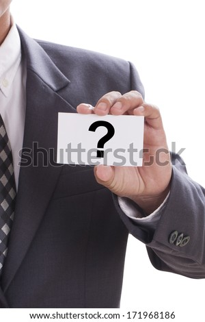 Businessman hand showing someone his business card with Question mark  - stock photo