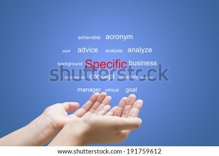 Businessman Hand Showing Specific Word  - stock photo