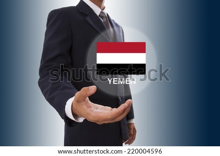 Businessman hand showing Yemen Flag