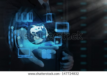 Businessman hand shows cloud network and new technology - stock photo