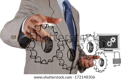 businessman hand touch gear of Internet security online business concept  - stock photo