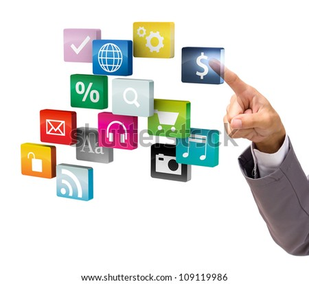 businessman hand touch virtual on cloud of colorful application, isolated on white background - stock photo