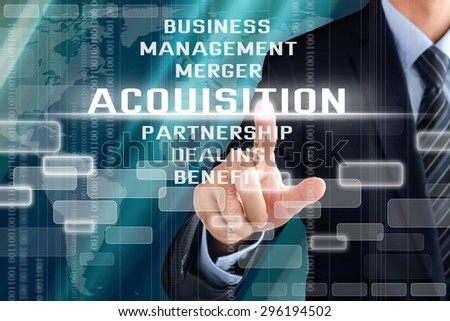 Businessman hand touching ACQUISITION word on virtual screen - stock photo