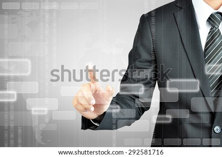 Businessman hand touching blank virtual screen - modern business background concept