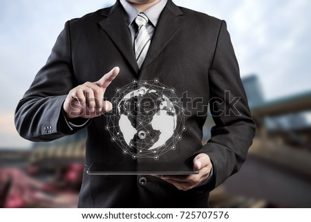 Businessman hand touching virtual button on Earth map point with network connection, international meaning