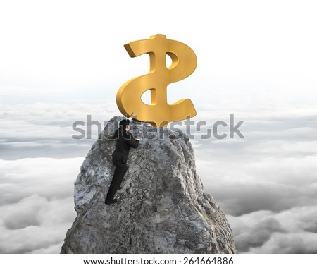 Businessman hand wanting for gold dollar sign on mountain peak with sky cloudscape background - stock photo